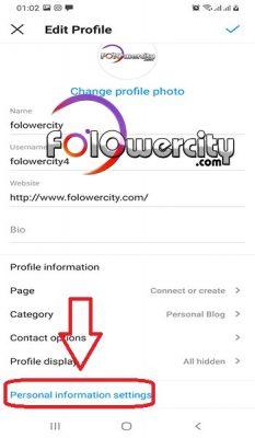 personal information setting در اینستاگرام